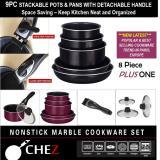 Get Cheap Chez 9Pc Detachable Handle Nonstick Cookware Set Plum