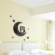 Childrens Room Decoration Three-dimensional Acrylic Mirror Wall Crescent Owl Kindergarten - intl