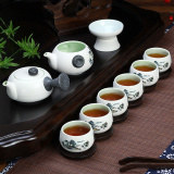 China Ceramic Chinese Porcelain Kung Fu Tea Set Celadon Blue Peony Teacup Ceramic Tea Pot 10 Pack Blue Landscape Compare Prices