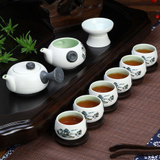 China Ceramic Chinese Porcelain Kung Fu Tea Set Celadon Blue Peony Teacup Ceramic Tea Pot 10 Pack Blue Landscape Reviews