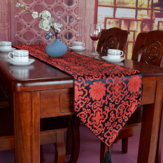 Review Chinese Style Chinese Silk Red Peony Bed Flag Tablecloth Oem On China