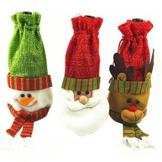 Chongqing 3 Pcs Christmas Wine Bottle Cover Holder Gift Bag Party Decor Christmas Decorations, 11.8x5.9Inches - intl