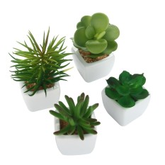 Chongqing Set of 4 Modern White Ceramic Mini Potted Artificial Succulent Plants - intl