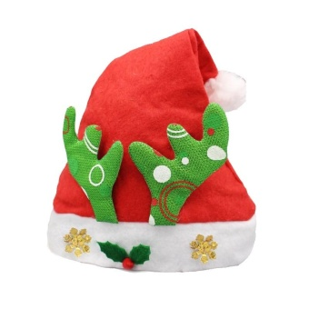 Christmas Decoration Non-woven Fabric Santa Hat Deer Horn Pattern Children Dressing Up Christmas Hat Random Pattern Delivery
