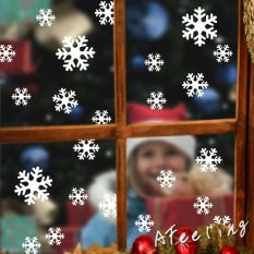 Christmas White Snowflakes Sticker Windows Glass Cabinet Wall Stickers New Year Home Decoration Wall Stickers Wallpaper By Qiaosha.