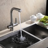 Chrome Flexible Brass Kitchen Sink Bathroom Basin Twin Lever Faucet Mixer Tap Cheap