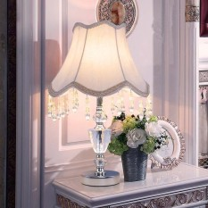 Chrome Luxury Modern Crystal Table Lamp Fabric Lampshade Living Room Bedroom Bedside Table Lights Home Lighting - intl