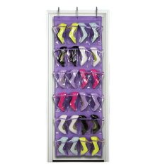 Clear Collection 24-Pocket Over The Door Shoe Organizer Storage Hanging Bag Pueple Red - intl