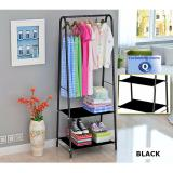 Where To Shop For Clothes Fashion Rack With 2 Tiers Shelving Storage Black Colour All New Design With Round Corners Raised Up Shelves For Shirt Dress Blouse Jeans Pants Heels Shoes Personal Items Space Organizer
