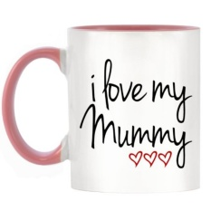 Coffee Tea Cup Gift I Love My Mummy With 3 Hearts Design Two Tone Mug With Pink Handle Inner Intl Online