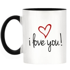 Deals For Coffee Tea Cup Gift I Love You Simple Design Two Tone Mug With Black Handle Inner Intl