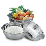 Discount Colander Stainless Steel Metal Round Strainer Kitchen Food Preparation Cooking Setting High Quality Mixing And Storage Bowl Pasta Rice Set Oem China