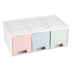 Colorful Desktop Storage Box with Drawers Jewelry Holder Cabinets Decor- High Type - intl
