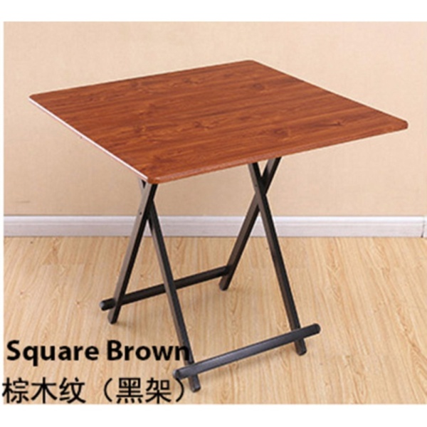 Colorful Square Folding Portable Foldable Table - Brown with Black Legs 60 x 54(h)cm
