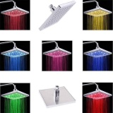 Discounted Colorful Led Square Spray Shower Head Rain Head For Bathing Bathroom 8 Inch New Intl