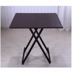 Sale Colorful Square Folding Portable Foldable Table Dark Brown 80 X 74Cm On Singapore