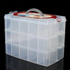 Compartment Box Clear Plastic Storage Organiser Tool Case Jewellery Craft Beads Medium - intl