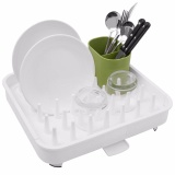 Retail Connect Adjustable Dish Drying Rack And Drainboard Set Integrated Spout Drainer Cutlery Holder Convertible White Intl