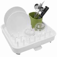 Top Rated Connect Adjustable Dish Drying Rack And Drainboard Set Integrated Spout Drainer Cutlery Holder Convertible White Intl