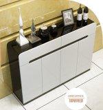 Contemporary Design Shoe Cabinet With Piano Paint Black White Colour 4 Doors 1 2M Long Sale