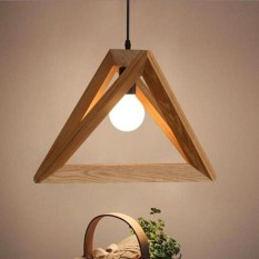 Contemporary Style Creative Decoration Triangle Pendant Wooden Ceiling Light - intl Singapore