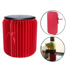 coobonf Flexible Paper Stool,Portable Home Furniture Paper Design Folding Chair with 1pcs Leather Pad,Red+Black Large Size - intl