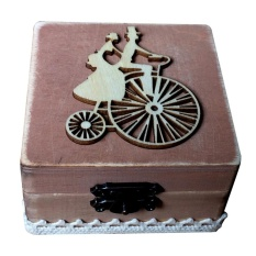 coobonf Wooden Ring Box Wedding Ring Box Vintage Country Style With MR and Mrs - intl