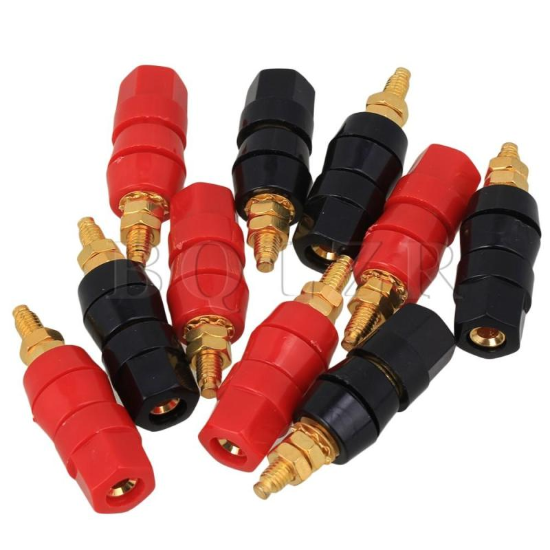 Copper Gold Plated Banana Plug Set of 10 (Black/Red)