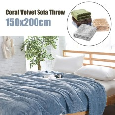 Brand New Coral Velvet Super Soft Throws For Sofa Blanket Cover Bed Yoga Spread 150X200Cm Smoky Blue Intl