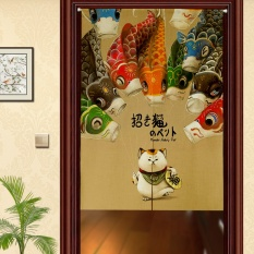 Cotton and Linen Curtains Lucky Cat Room Dividers & Screens Hanging Curtains Blinds Creative Japanese Fabric Cut Curtains Curtains Half Door - intl