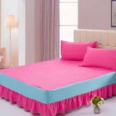 Sale Cotton Bedspreads Bed Skirt Bedsheet Bedclothes High Quality Solid Color 5 Pink Intl Online China
