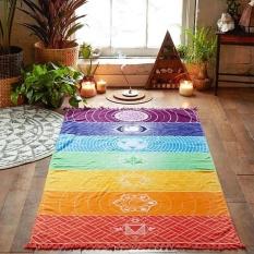Cotton Bohemia India Mandala Blanket 7 Chakra Rainbow Stripes Tapestry Beach Towel Yoga Mat Bath Towel Washable Throw Blankets 75x150CM - intl