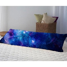 Cotton Decorative Long Body Pillow Case Cover Colorful Pink Blue Galaxy Nebula Pattern Intl Promo Code