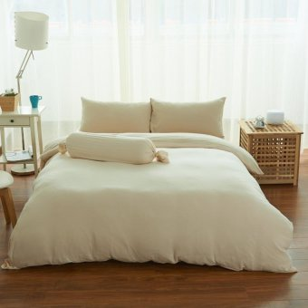 Cotton Pure™ Milky Beige Knitted Cotton Fitted Sheet Set