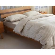 Review Cotton Pure™ Muslin Beige Stripes Knitted Cotton Fitted Sheet Set Singapore