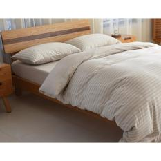 Great Deal Cotton Pure™ Muslin Beige Stripes Knitted Cotton Quilt Cover