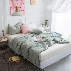 How To Get Cotton Throw Blankets With Balls Soft Quilts Warm Comforters Air Conditioning Nap Cobertor Bed Covers Washable Sofa Throw Blankets Summer Bedspread 200X230Cm Intl