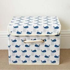 Cotton&Linen Foldable Wardrobes Portable Clothing Organizer Storage Bins Storage Box with Cap Clothes /Socks /Toys /Snacks Sundries Oraganier 25x25x37CM(Blue) - intl