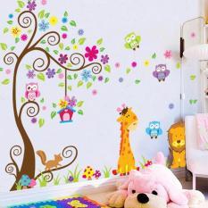 creative animals lion giraffe fox owl tree flowers petals home decor living room decals kids room wall stickers mural art wallpaper - intl
