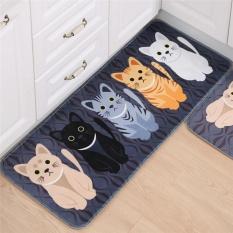 Creative Cartoon Cute Cat Print Door Bathroom Floor Bedroom Mat Entrance Mat Multicolor 50*80cm - intl