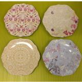 Top Rated Creative Co Op Ceramic Scalloped Plates 8 5 Diameter 4 Designs Per Set De5749A