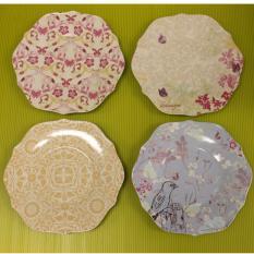 Sale Creative Co Op Ceramic Scalloped Plates 8 5 Diameter 4 Designs Per Set De5749A Online Singapore