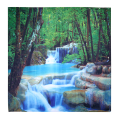 How To Buy Creative Shower Curtain Fabric Waterproof Shower Curtain Bathroom Polyester 12 Hooks 3 3D Waterfall Scenery 180X180Cm Intl