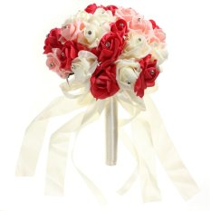Compare Price Crystal Wedding Bridal Bridesmaid Flower Foam Roses Bouquet Red Ivory Orange Export On China