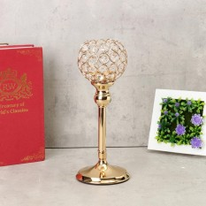 Crystal Wedding Party Event Table Tealight Votive Candle Holder Candlestick Gift Gold 30cm - intl