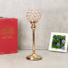 Crystal Wedding Party Event Table Tealight Votive Candle Holder Candlestick Gift Gold 35cm - intl