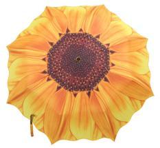 cushan Women Portable Sunflower Folding Travel Rain Umbrella Parasol,Yellow