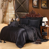 Compare Price Custom Made Black Luxury Bedding Sets Solid Silk Satin 4 Pcs Queen King Size Home Bedclothes Bed Linen Duvet Cover Set Bed Sheet On Singapore