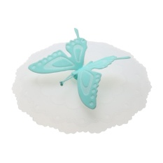 Cute Butterfly Silicone Cup Lids Anti-dust Leakproof Mugs Cover(Blue) - intl