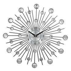 Decorative Crystal Sunburst Metal Wall Clock Home Art Decor Diameter 13 Inch (Crystal) - intl